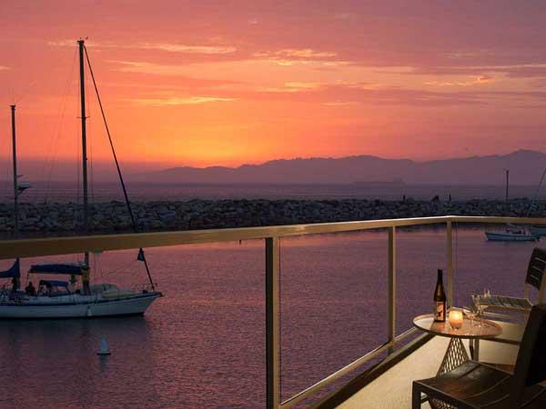 guestroom balcony at sunset in Redondo Beach, CA